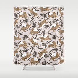 Tigers and Bamboo Leaves Shower Curtain