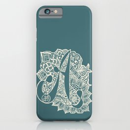 Zentangle A teal iPhone Case