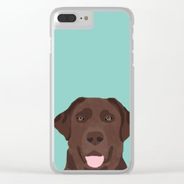 Chocolate Lab dog breed portrait pet art dog lover gifts labrador retriever Clear iPhone Case