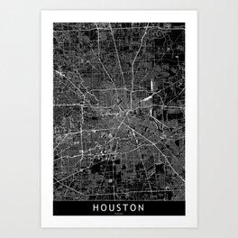 Houston Black Map Art Print