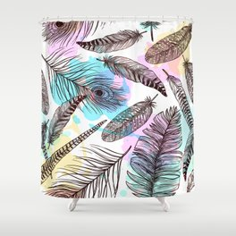 Beautiful Watercolor Feathers Shower Curtain