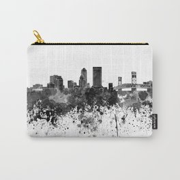 Jacksonville skyline in black watercolor Carry-All Pouch
