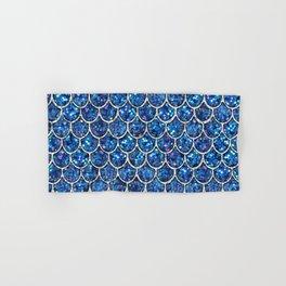Sparkly Blue & Silver Glitter Mermaid Scales Hand & Bath Towel