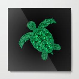 Art Deco Turtle on Black Metal Print