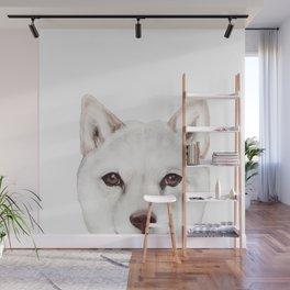 shiba inu white Dog original painting print Wall Mural