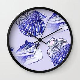 Seashells Beach Pattern Blue Wall Clock