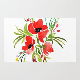 Beautiful Watercolor Floral Element Rug