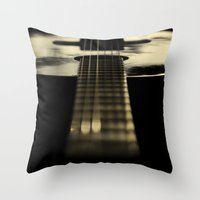 guitar Throw Pillows featuring guitar by Ingrid Beddoes