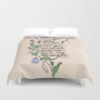 oscar wilde Duvet Covers featuring Oscar Wilde Quote  by TLG Creative