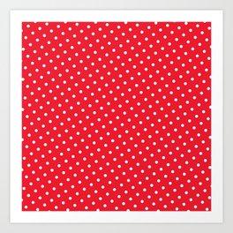 Kissy Flame Kissed Lipstick Retro Red Polka Dot (White) Art Print