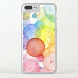 Watercolor Abstract Rainbow Circles and Splatters Clear iPhone Case