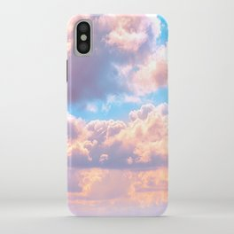 Beautiful Pink Cotton Candy Clouds Against Baby Blue Sky Fairytale Magical Sky iPhone Case