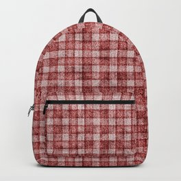 Rusty Red Gingham Faux Terry Toweling Backpack