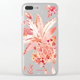 PINEAPPLE JUICE Peach Tropical Floral Clear iPhone Case