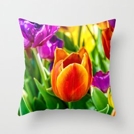 Stunning Tulip Flowers Throw Pillow