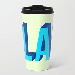 BLAH BLAH BLAH (Quote Art, Typography, Graphic, Fun) Print (Blue Yellow Lime Green) Travel Mug