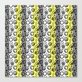 Circles and rings on striped background 2 Canvas Print