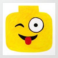 Winking Smile - Emoji Minifigure Painting Art Print