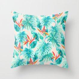 Tropical Paradise Pale Peach Throw Pillow