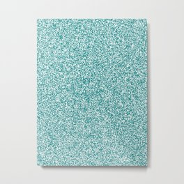 Spacey Melange - White and Dark Cyan Metal Print