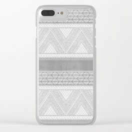 Dutch Wax Tribal Print in Grey Clear iPhone Case
