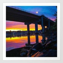 Spring Sunset by the Casco Bay Bridge Art Print