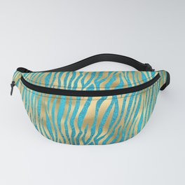 Beautiful Teal & Gold Animal Print Pattern Fanny Pack