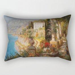Amalfi Coast Campania, Italy Garden Terrace Vineyard and Flowers landscape seaside painting Rectangular Pillow