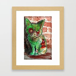 Mean Green Cute Zombie Cat Framed Art Print