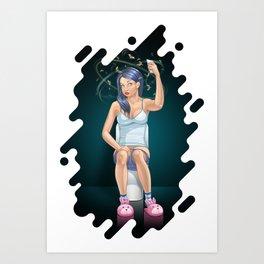 Constipated Girl Art Print