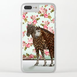 Leopard Horses Clear iPhone Case