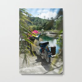 Scooter by the Sea Metal Print