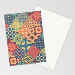 Leiden vintage cheater quilt colorful geometric design Stationery Cards