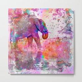 Pop Art Jungle Elephant Metal Print