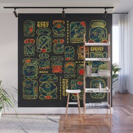 Maya Calendar Glyphs pattern Wall Mural