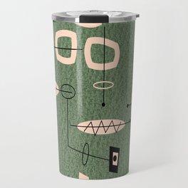 Mid-Century Atomic Green Abstract Travel Mug