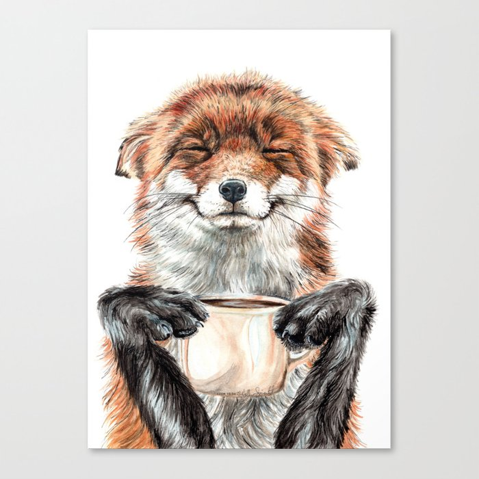 """"""" Morning fox """" Red fox with her morning coffee Leinwanddruck"""