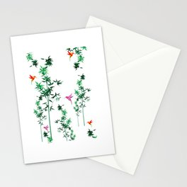 Hummingbird,tropical,bamboo,Japanese style decor.Green Stationery Cards