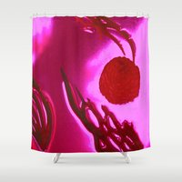outer space Shower Curtains featuring Osteolytic Outer Space by Leisa Rich