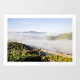A Mountain View With Fog Rolling Art Print