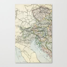Austria Vintage Map Canvas Print