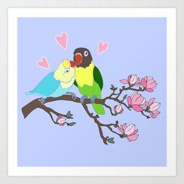 Kissing Lovebirds in magnolia tree Art Print