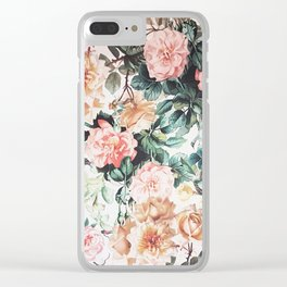 Vintage green pink yellow watercolor roses floral Clear iPhone Case