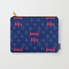 Feminist Killjoy Pink and Blue Polkadot Print Carry-All Pouch