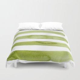 Green Stripe Abstract Art Duvet Cover