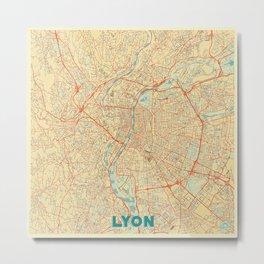 Lyon Map Retro Metal Print