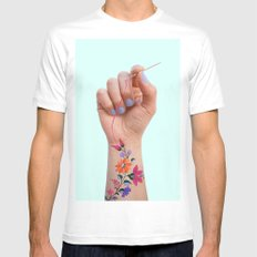 SEWING TATTOO Mens Fitted Tee White MEDIUM