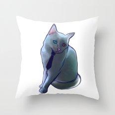 bowie cat Throw Pillow