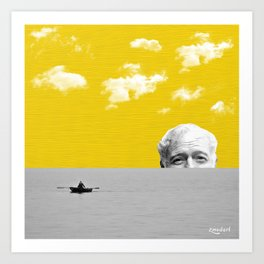 Ernest Hemingway | Old man and the Sea | Digital Collage Art Art Print