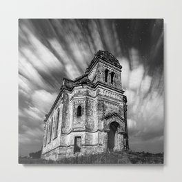Abandoned Chapel under stars and streaks of clouds, Ukraine black and white photograph - photography Metal Print